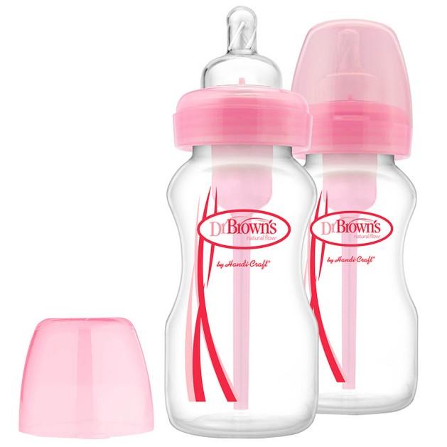 Dr. Brown\'s Natural Flow Options Πλαστικό Μπιμπερό με Φαρδύ Λαιμό & Θηλή Σιλικόνης Ροζ Χρώμα 2x270ml WB 92305