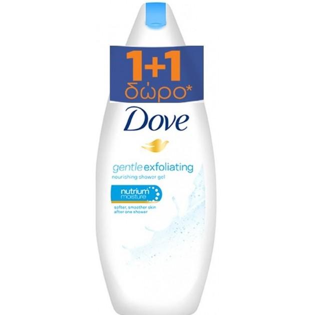 Dove Αφρόλουτρο Exfoliating Απαλή Απολέπιση Με 1/4 Ενυδατική Κρέμα 1+1 Δώρο 750ml