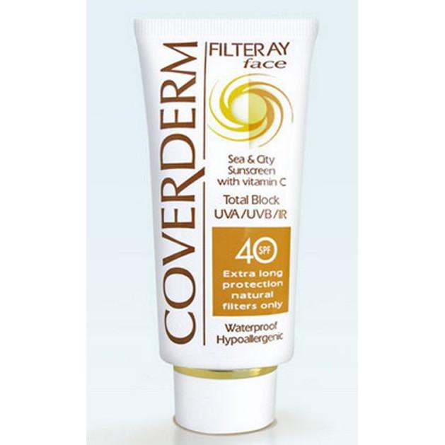 Coverderm Filteray Face Spf40 Tinted - Αντηλιακή Κρέμα Προσώπου με Χρώμα, για Όλους τους Τύπους 50ml