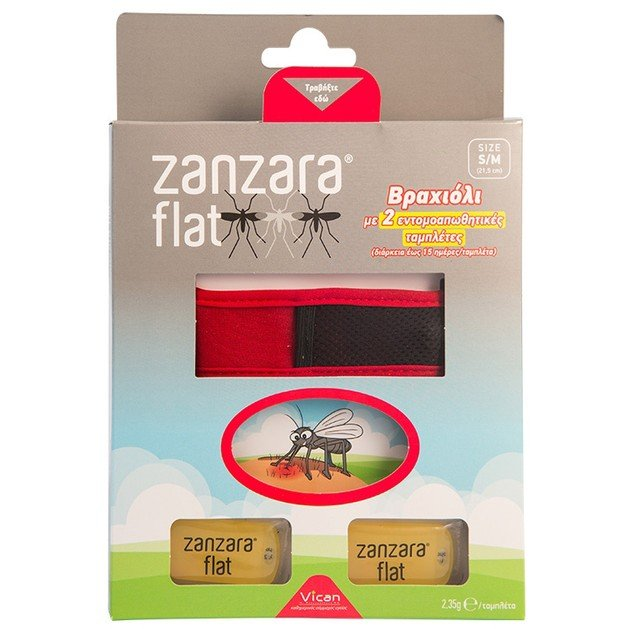 Vican Zanzara Flat Βραχιόλι σε Διάφορα Χρώματα 1τμχ & 2 Εντομοαπωθητικές Ταμπλέτες Μέγεθος S/M 1τμχ