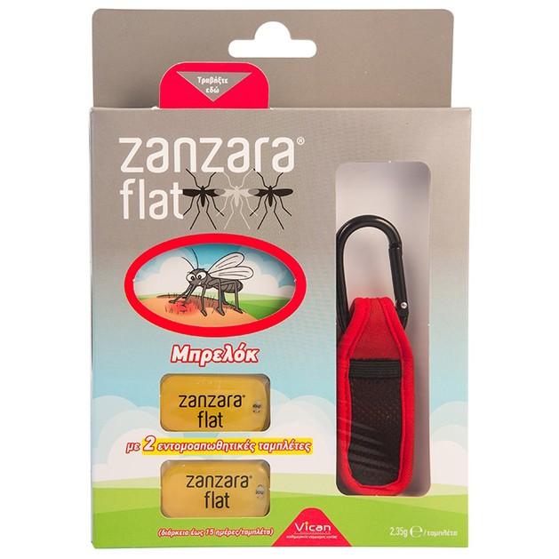 Vican Zanzara Flat Μπρελόκ σε Διάφορα Χρώματα 1τμχ & 2 Εντομοαπωθητικές Ταμπλέτες