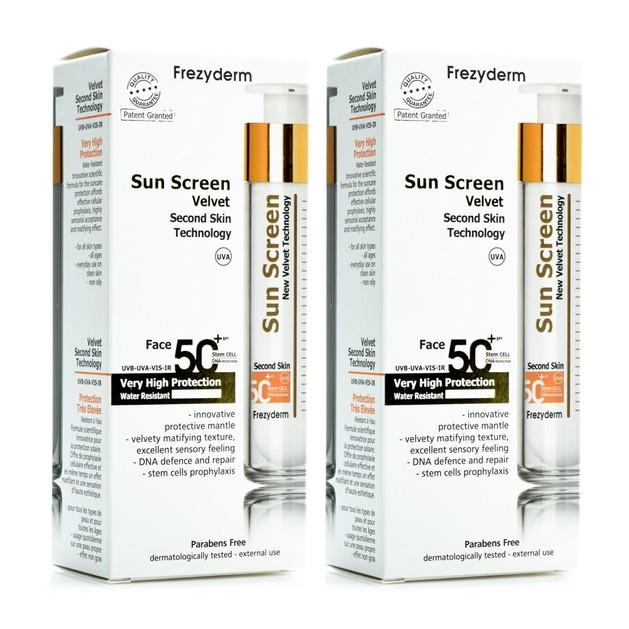 Frezyderm Πακέτο Προσφοράς Sun Screen Velvet Face Cream Spf50+ Αντηλιακή Προσώπου με Βελούδινη Υφή 2x50ml