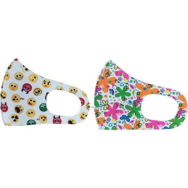 Tili Fashion Face Mask Παιδικές Μάσκες Προσώπου Πολλαπλών Χρήσεων με Σχέδια Λουλούδια - Emoji για Κορίτσι 2 Τεμάχια