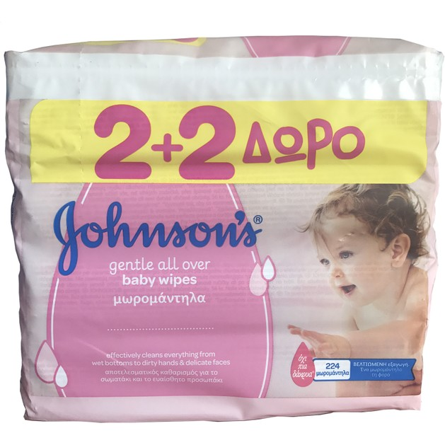 Johnson\'s Baby ​Gentle All Over Wipes Μωρομάντηλα 2+2 Δώρο 4 x 56 τεμάχια