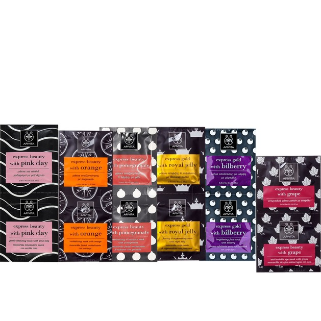Apivita Face Masks Gift Set Express Beauty Pink Clay, Orange, Pomegranate, Royal Jelly, Bilberry & Δώρο Grape & Νεσεσέρ