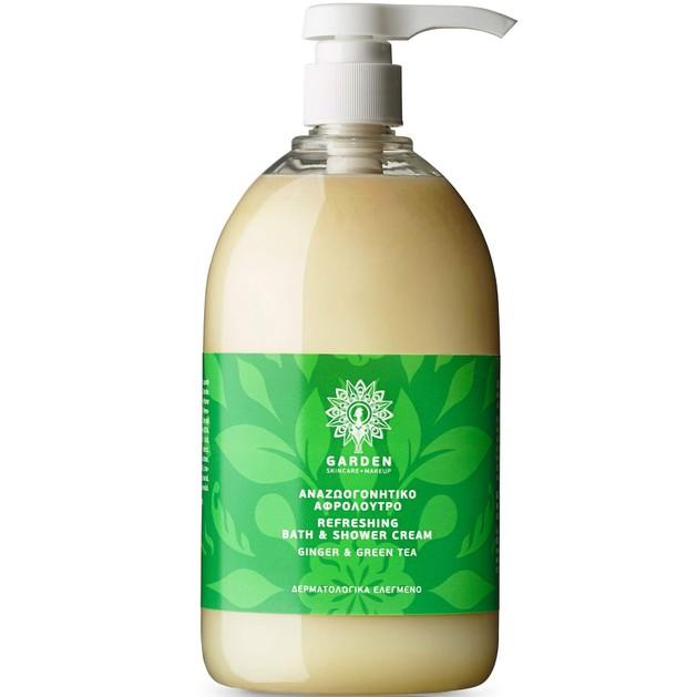 Garden of Panthenols Refreshing Bath & Shower Cream Ginger & Green Tea Αναζωογονητικό Αφρόλουτρο 1Lt