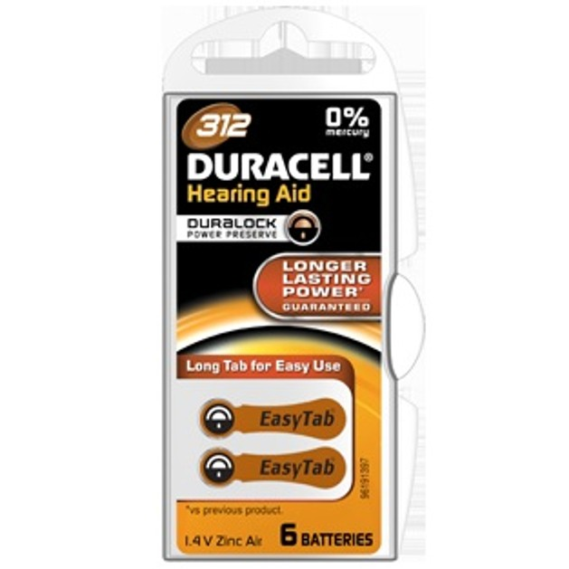 Duracell HEARING AID BATTERY WITH EASYTAB 312