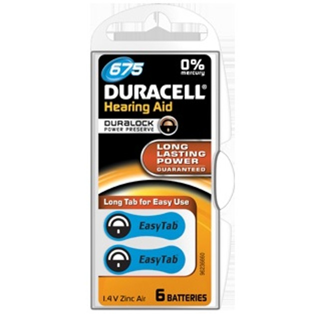 Duracell HEARING AID BATTERY WITH EASYTAB 675