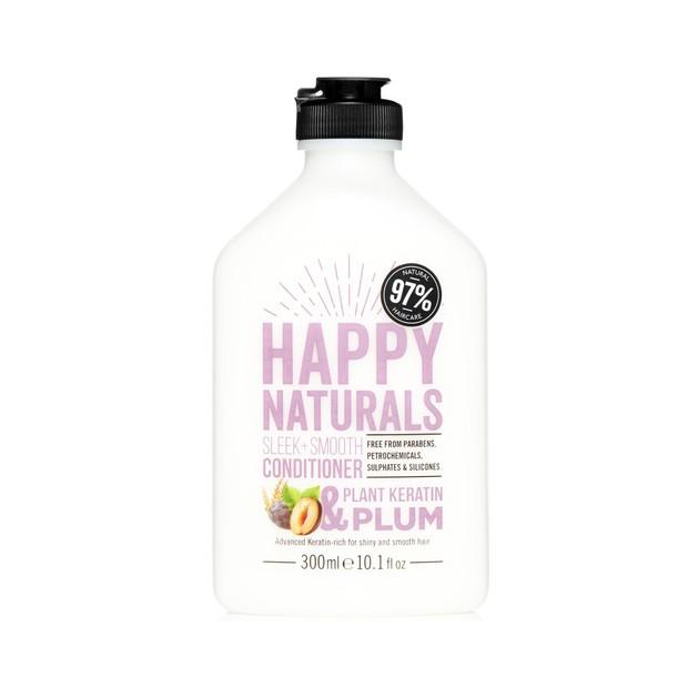 Happy Naturals Sleek + Smooth Conditioner Plant Keratin & Plum Πλούσια σε Κερατίνη για Λαμπερά και Απαλά Μαλλιά 300ml