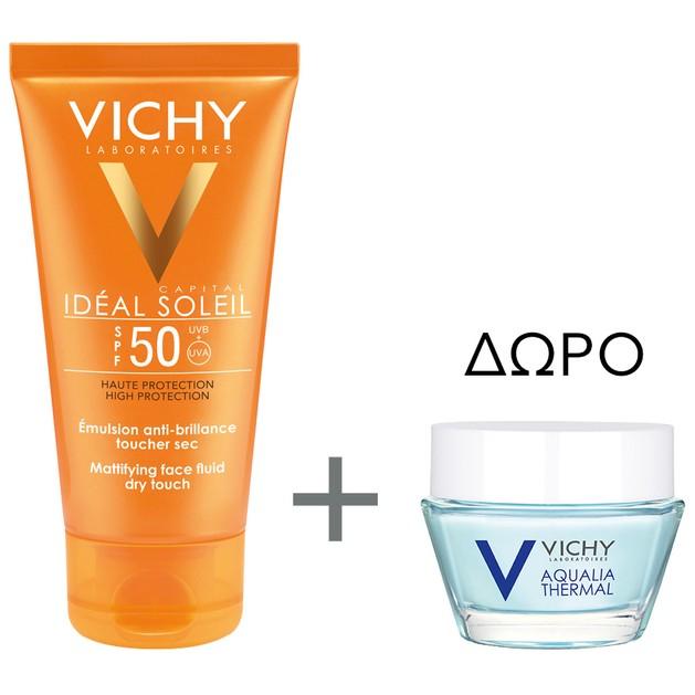 Vichy Ideal Soleil Dry Touch Spf50, 50ml & Aqualia Thermal Night Spa 15ml