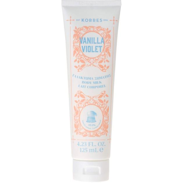 Korres Body Milk Vanilla Violet Ενυδατικό Γαλάκτωμα Σώματος με Γλυκό Άρωμα από Άνθη Βιολέτας & Ζεστής Βανίλιας 125ml