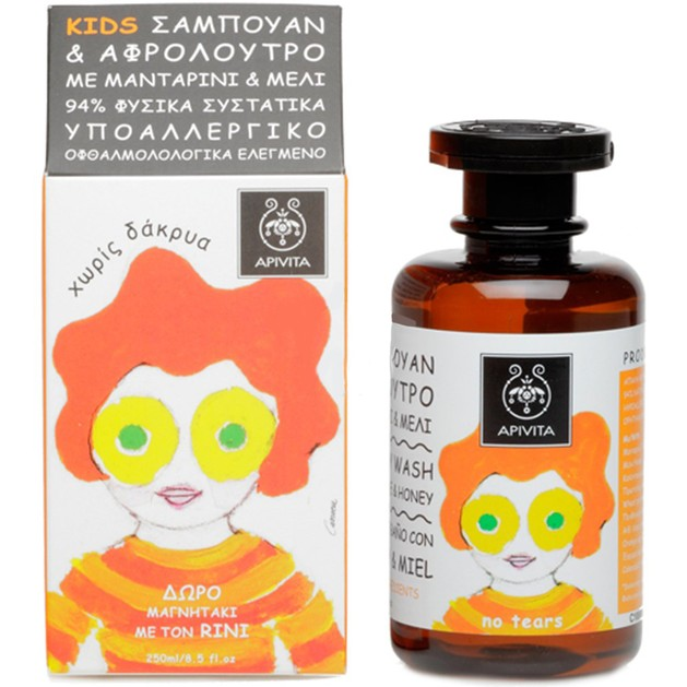 Apivita Kids Shampoo & Shower Gel With Honey & Mandarin 250ml