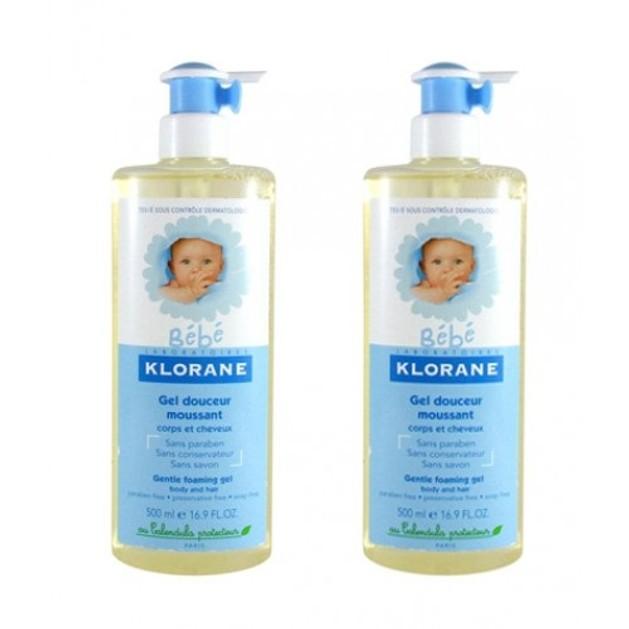 Klorane Bebe Gel Douceur Moussant Απαλό Ζελ Καθαρισμού Για Σώμα Και Μαλλιά  2 χ 500ml