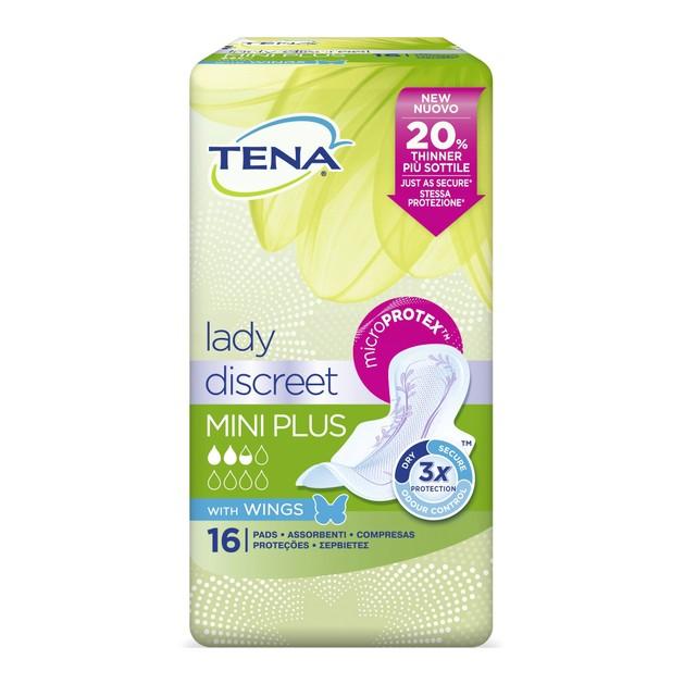 Tena Lady Discreet Mini Plus Wings Σερβιέτες με Φτερά για Ελαφριά Ακράτεια 16τμχ