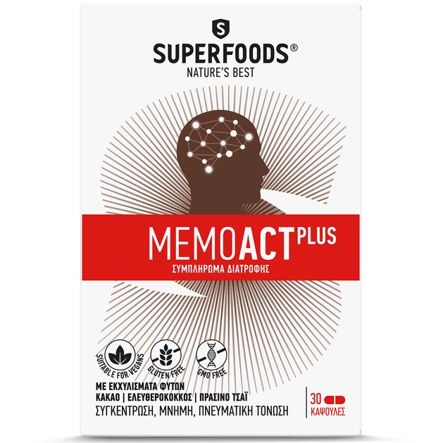 Superfoods MemoAct Plus Συγκέντρωση Μνήνη Πνευματική Τόνωση 30caps
