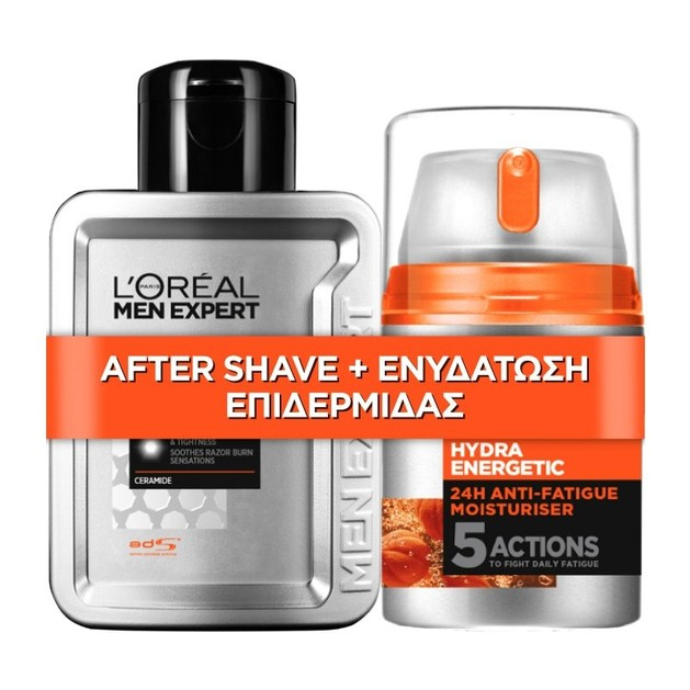 L\'oreal Paris Men Expert Promo Hydra Energetic After Shave Balm 100ml & Hydra Energetic 24h Anti-Fatique Moisturizer Cream 48ml