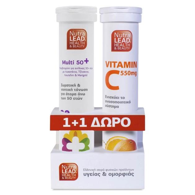 Nutralead Multi 50+, 20 Αναβρ. Δισκία + Δώρο Vitamin C 550mg 20 Αναβρ. Δισκία