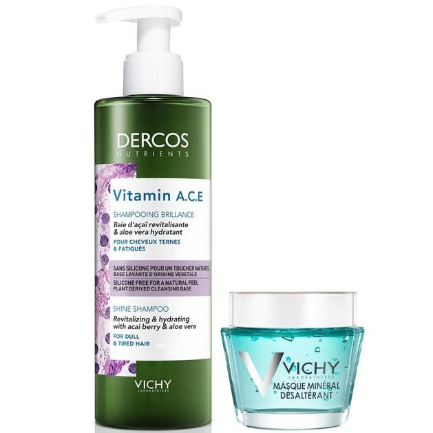 Δώρο Vichy Dercos Nutrients Vitamin A.C.E Shampooing Brillance 100ml & Masque Mineral Desalterant 15ml