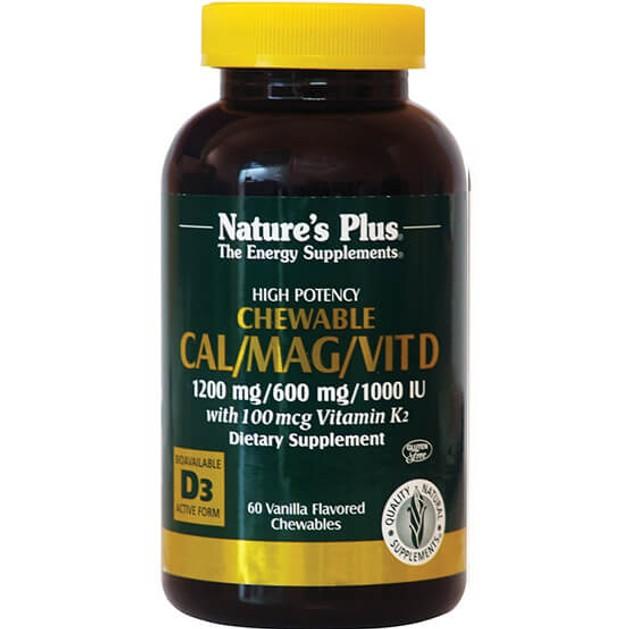 Nature\'s Plus Cal/Mag/ W/Vit D & K2Συμπλήρωμα Διατροφής για την Αντιμετώπιση της Οστεοπόρωσης με Γεύση Βανίλια60 Chewables