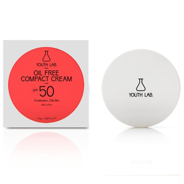 YOUTH LAB. Oil Free Compact Spf50 Combination Oily Skin Αντηλιακή Κρέμα Υψηλής Προστασίας & Ματ Αποτελέσματος Dark Color 10gr