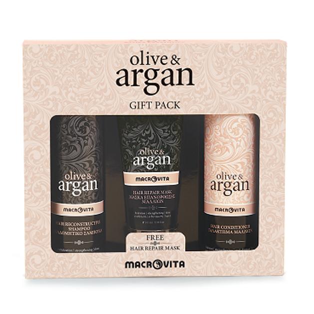 Macrovita Olive & Argan Αναδομητικό Σαμπουάν 200ml Γαλάκτωμα μαλλιών 200ml Δώρο Μάσκα Επανόρθωσης Μαλλιών 100ml