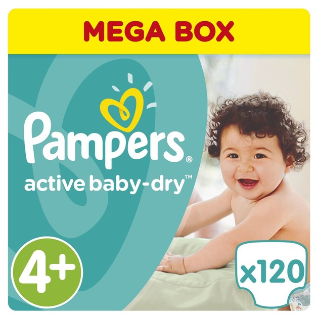 Pampers Active Baby Dry Mega Pack No4+ (9-16kg) 120 πάνες, μόνο 0,30€ / πάνα