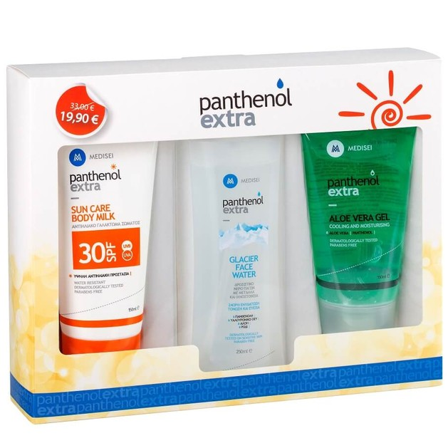 Medisei Panthenol Extra Πακέτο Προσφοράς Sun Care Spf30 150ml & Face Water 250ml & Aloe Vera 150ml