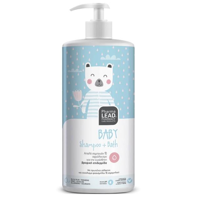 PharmaLead  Baby Shampoo & Bath  με Πρωτεΐνες Γάλακτος  & Εκχυλίσματα Φασκόμηλου & Χαμομηλιού 1Lt