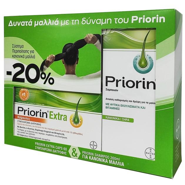 Priorin Πακέτο Προσφοράς Extra Caps Συμπλήρωμα Διατροφής για Μαλλιά 60caps & Shampoo για Κανονικά/Ξηρά Μαλλιά 200ml Promo -20%
