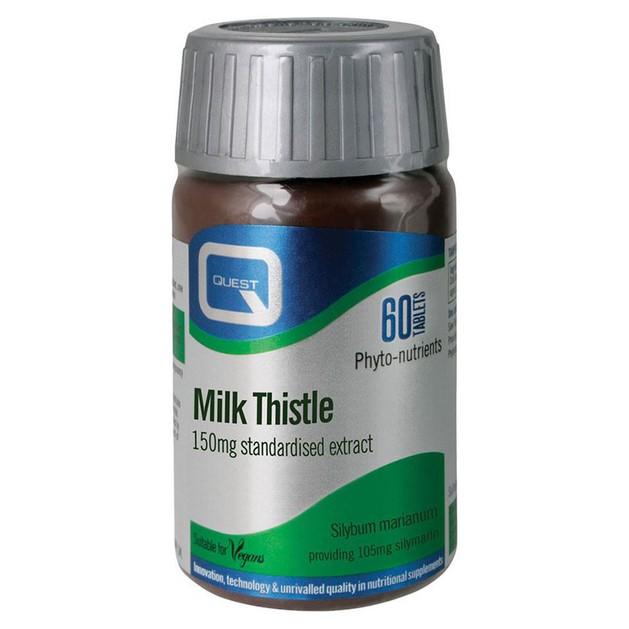 Quest Milk Thistle 150mg Extract Αντιοξειδωτική Προστασία και Αποτοξίνωση στο Ήπαρ 60tabs