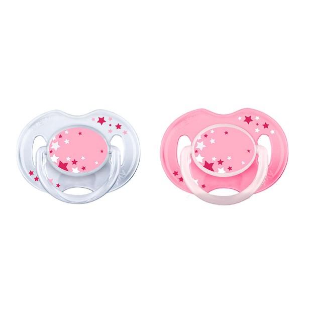 Avent Νυχτερινή Ορθοδοντική Πιπίλα Σιλικόνης 0-6 Μηνών Ροζ / Διάφανο 2τεμάχια SCF176/28