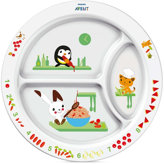 Avent Εκπαιδευτικό Πιάτο Φαγητού με Διαχωριστικά για Νήπια 12 Μηνών+