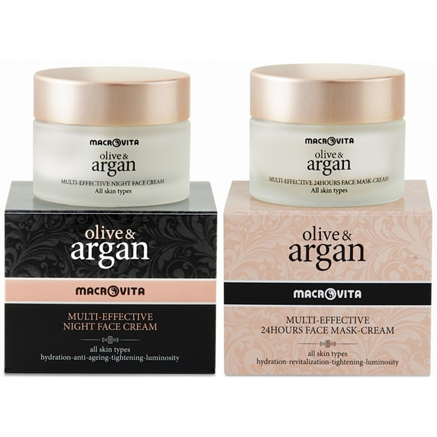 Macrovita Πακέτο Προσφοράς Olive & Argan Multi-Effective Night Cream 50ml & Δώρο Multi Effective 24Hours Face Mask-Cream 50ml