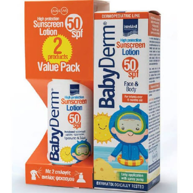 Babyderm Πακέτο Προσφοράς Sunscreen Lotion Spf50 Βρεφικό Αντηλιακό Γαλάκτωμα Προσώπου & Σώματος 200ml & Δώρο 200ml