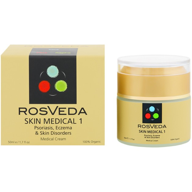 Rosveda Skin Medical 1 100% Φυτική Σύνθεση, Οργανική Κρέμα που Θεραπεύει Έκζεμα, Ψωρίαση & Ανωμαλίες του Δέρματος 50ml