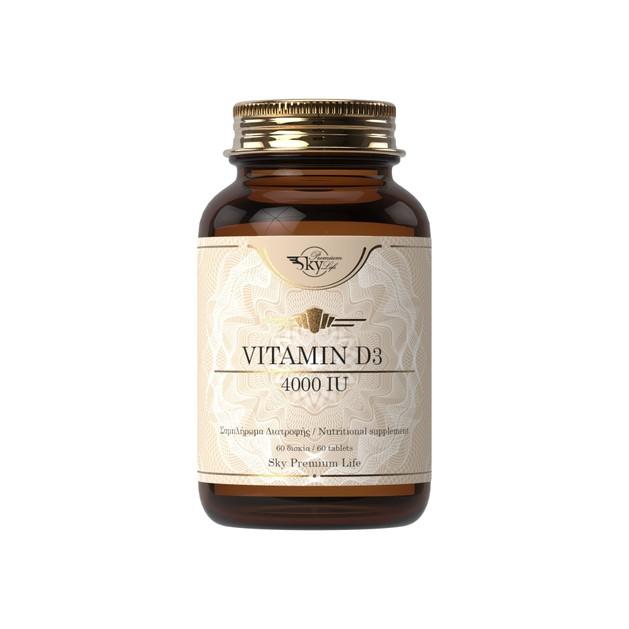 Sky Premium Life Vitamin D3, 4.000IU Συμπλήρωμα Διατροφής με Βιταμίνη D3 για Γερά Οστά και Δυνατό Ανοσοποιητικό 60 Δισκία