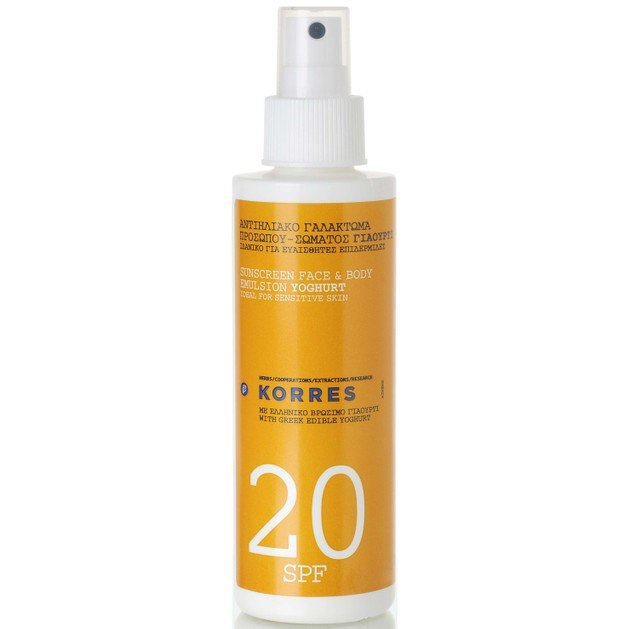 Korres Sunscreen Face & Body Emulsion Yogurt Spray με Spf20 150ml