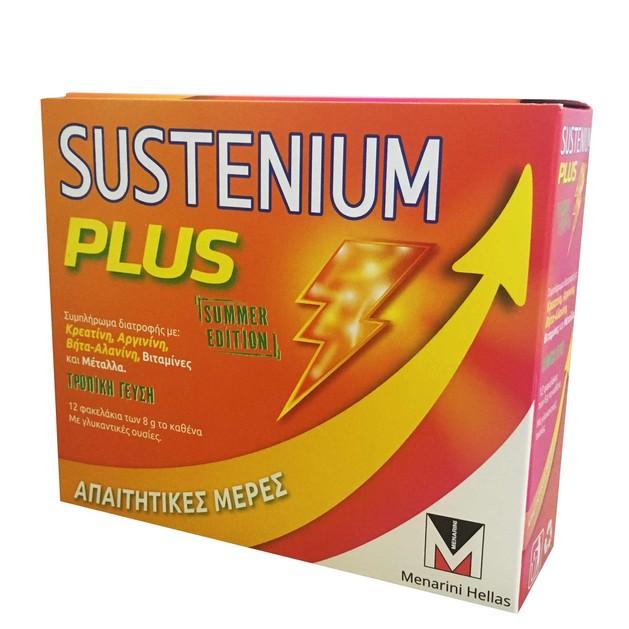 Menarini Sustenium Plus Summer Edition Συμπλήρωμα Διατροφής με Κρεατίνη, Αργινίνη, Βήτα-Αλανίνη, Βιταμίνες & Μέταλλα 12 sachets