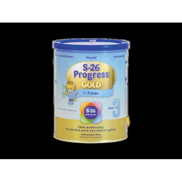 Wyeth S-26 Progress 3 Gold Βρεφικό Γάλα από τον 12ο Μήνα Ένα Ιδανικό Συμπλήρωμα Ισορροπημένης Διατροφής με Γεύση Βανίλια 400gr