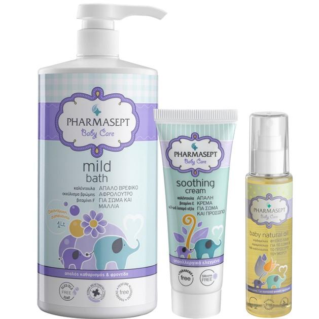 Pharmasept Πακέτο Προσφοράς Baby Care Mild Bath 1Lt & Tol Velvet Baby Soothing Cream 150ml & Baby Natural Oil 100ml