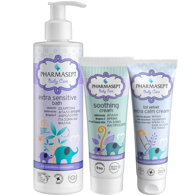 Pharmasept Πακέτο Προσφοράς Baby Extra Sensitive Bath 250ml & Tol Velvet Baby Soothing Cream 150ml & Baby Extra Calm Cream 150ml