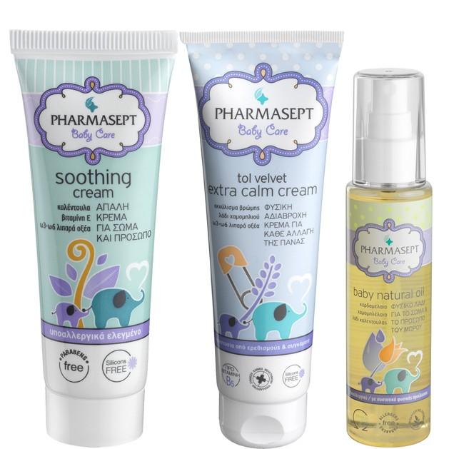 Pharmasept Πακέτο Προσφοράς Tol Velvet Baby Soothing Cream 150ml & Baby Extra Calm Cream 150ml & Baby Natural Oil 100ml