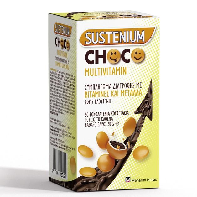 Menarini Sustenium Choco Multivitamin Συμπλήρωμα Διατροφής Βιταμινών & Μετάλλων για Παιδιά 90 Σοκολατένια Κουφετάκια