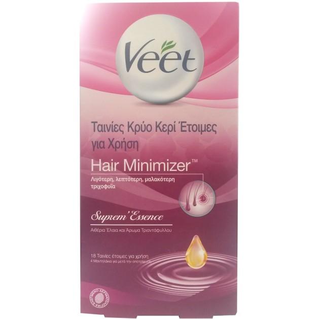 Veet Hair Minimizer Ταινίες Κρύο Κερί \'Ετοιμες για Χρήση 18τμχ & 4 Μαντηλάκια