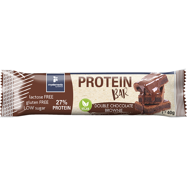 Myelements Protein Bar Vegan Double Chocolate Brownie Μπάρα Πρωτεΐνης Χωρίς Λακτόζη και Γλουτένη 40g