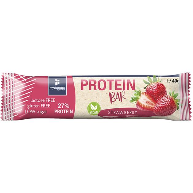 Myelements Protein Bar Vegan Strawberry Μπάρα Πρωτεΐνης Χωρίς Λακτόζη και Γλουτένη 40g