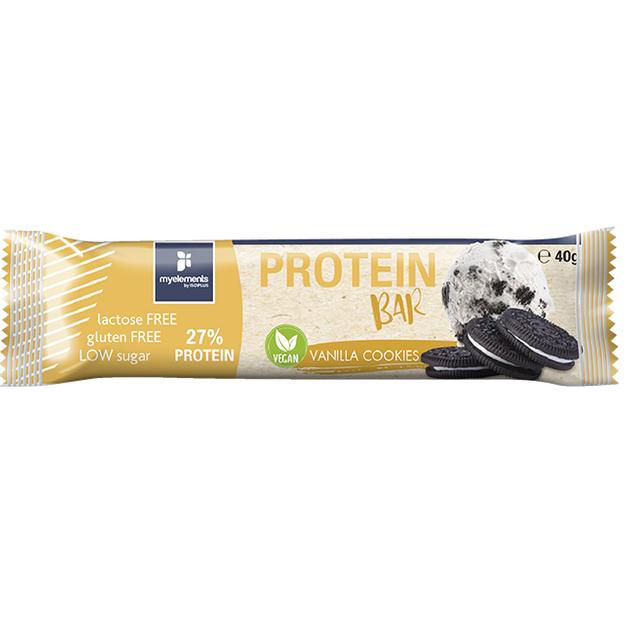 Myelements Protein Bar Vegan Vanilla Cookies Μπάρα Πρωτεΐνης Χωρίς Λακτόζη και Γλουτένη 40g
