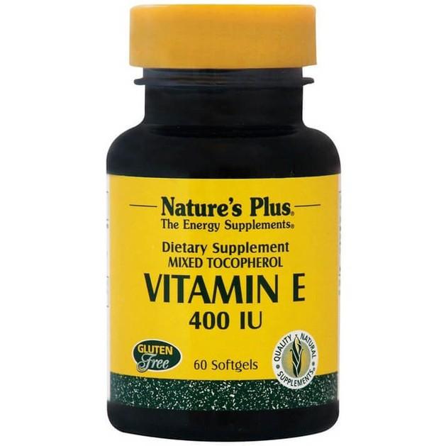 Nature\'s Plus Vitamin E 400IU Συμπλήρωμα Διατροφής Φυσικής Πηγής Βιταμίνης Ε, Αντιοξειδωτική Δράση & Προστασία Μυών 60Softgels