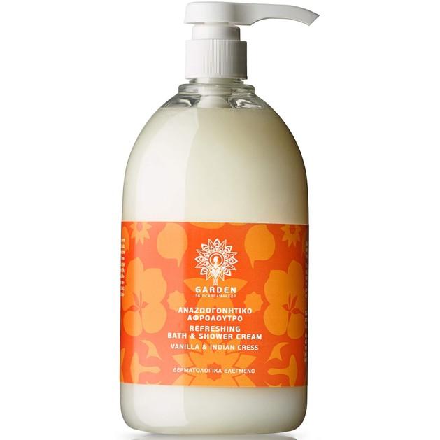 Garden of Panthenols Refreshing Bath & Shower Cream Vanilla & Indian Cress Αναζωογονητικό Αφρόλουτρο 1Lt