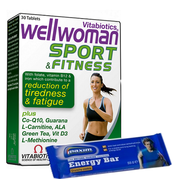 Wellwoman Sport & Fitness 30tabs & Δώρο 1 Maxim Energy Bar  - Vitabiotics